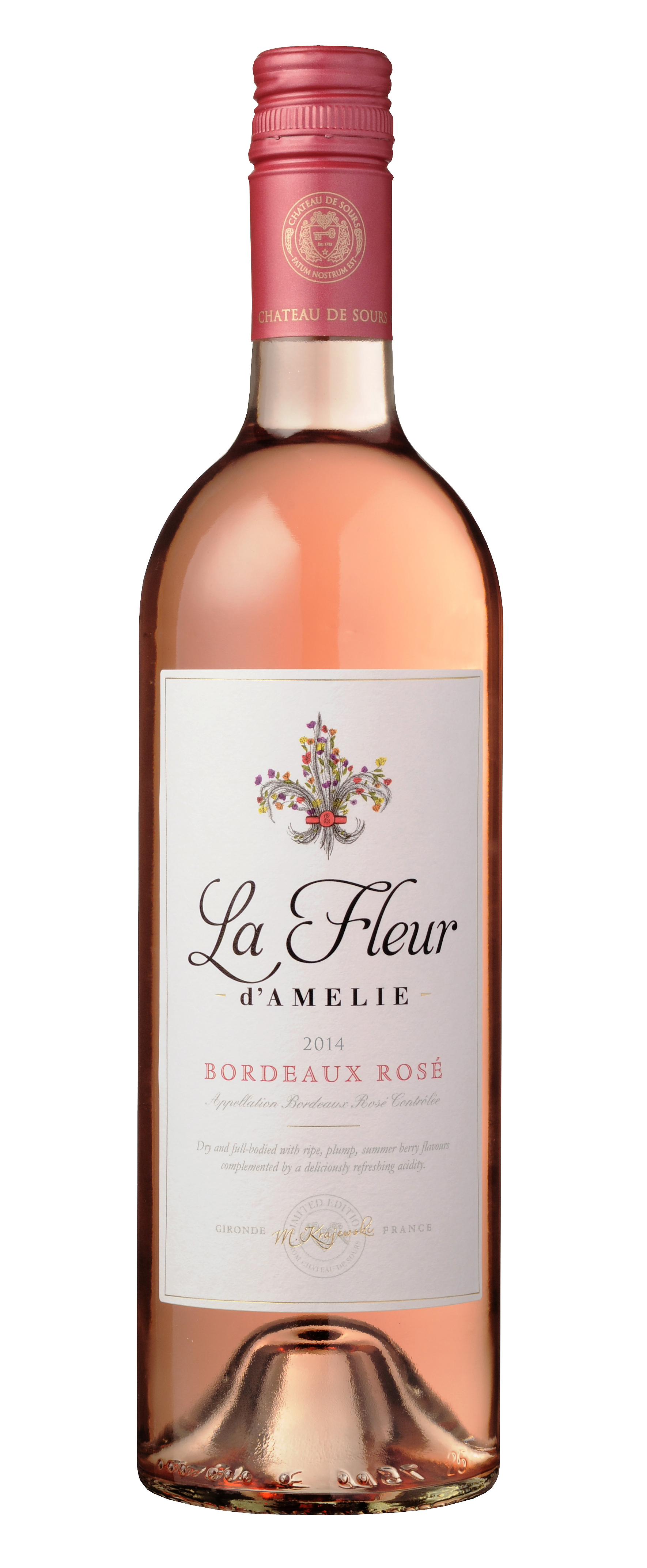 chateau de sours la fleur d amelie rose bordeaux for only in online liquor store. Black Bedroom Furniture Sets. Home Design Ideas
